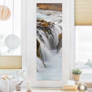 Leinwandbild - Brúarfoss Wasserfall in Island - Panorama Hoch