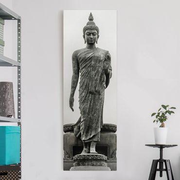 Leinwandbild Schwarz-Weiß - Buddha Statue - Panoramabild Hoch