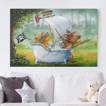 Leinwandbild - Buddy Bär - In der Badewanne - Querformat 3:2