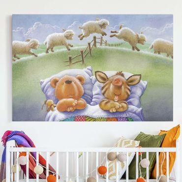 Leinwandbild - Buddy Bär - Schäfchen zählen - Querformat 3:2