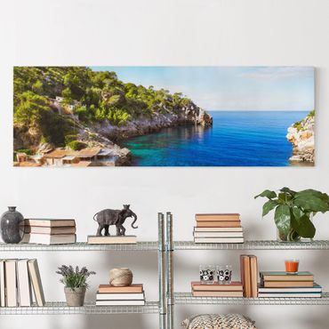 Leinwandbild - Cala de Deia in Mallorca - Panorama Quer