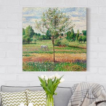 Leinwandbild - Camille Pissarro - Wiese mit Schimmel, Eragny - Quadrat 1:1