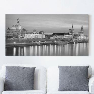 Leinwandbild Schwarz-Weiß - Canaletto-Blick bei Nacht II - Quer 2:1