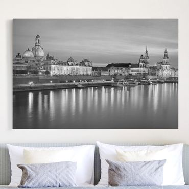 Leinwandbild Schwarz-Weiß - Canaletto-Blick bei Nacht II - Quer 3:2