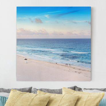 Leinwandbild - Cancun Ozean Sonnenuntergang - Quadrat 1:1