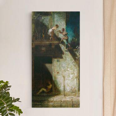 Leinwandbild - Carl Spitzweg - Pierrot und Columbine (Stelldichein) - Hoch 1:2