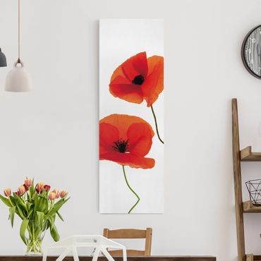 Leinwandbild - Charming Poppies - Panorama Hoch