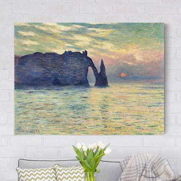 Leinwanddruck Claude Monet - Gemälde Felsen, Étretat, Sonnenuntergang - Kunstdruck Quer 4:3 - Impressionismus