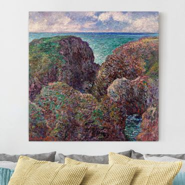 Leinwanddruck Claude Monet - Gemälde Felsengruppe bei Port-Goulphar - Kunstdruck Quadrat 1:1 - Impressionismus