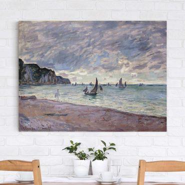 Leinwanddruck Claude Monet - Gemälde Fischerboote vor der Küste und den Felsen von Pourville - Kunstdruck Quer 4:3 - Impressionismus