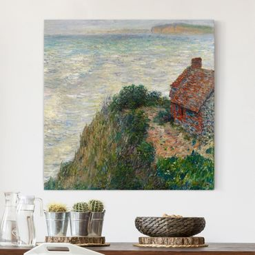 Leinwanddruck Claude Monet - Gemälde Fischerhaus in Petit Ailly - Kunstdruck Quadrat 1:1 - Impressionismus