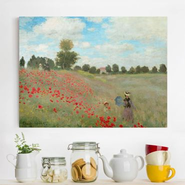 Leinwanddruck Claude Monet - Gemälde Mohnfeld bei Argenteuil - Kunstdruck Quer 4:3 - Impressionismus