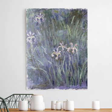 Leinwanddruck Claude Monet - Gemälde Schwertlilien - Kunstdruck Hoch 3:4 - Impressionismus