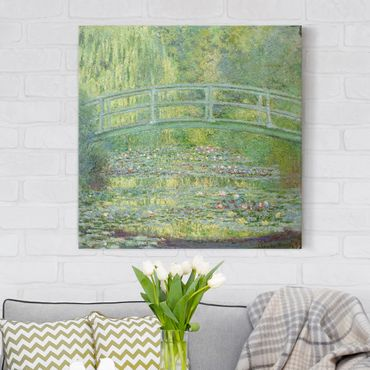 Leinwanddruck Claude Monet - Gemälde Seerosenteich und japanische Brücke - Kunstdruck Quadrat 1:1 - Impressionismus