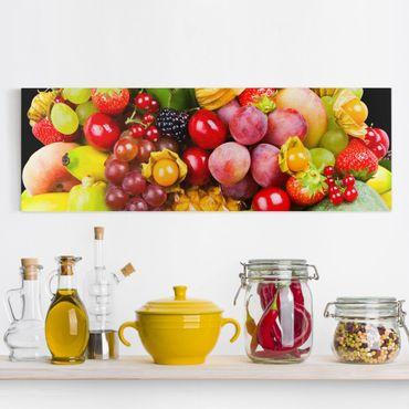 Leinwandbild - Colourful Exotic Fruits - Panorama Quer