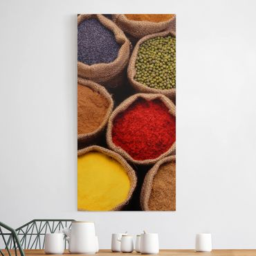 Leinwandbild - Colourful Spices - Hoch 1:2