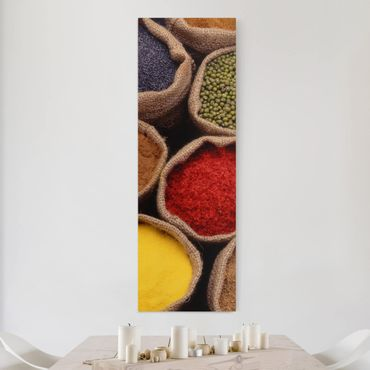 Leinwandbild - Colourful Spices - Panorama Hoch