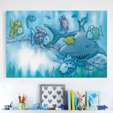 Leinwandbild - Der Regenbogenfisch - Hai Attacke - Quer 3:2