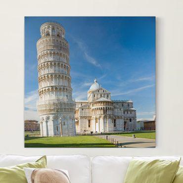 Leinwandbild - Der schiefe Turm von Pisa - Quadrat 1:1
