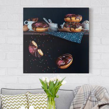 Leinwandbild - Donuts vom Küchenregal - Quadrat 1:1