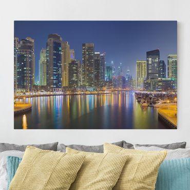 Leinwandbild - Dubai Nacht Skyline - Quer 3:2