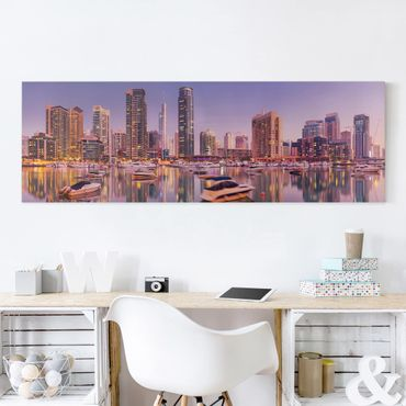 Leinwandbild - Dubai Skyline und Marina - Panorama Quer