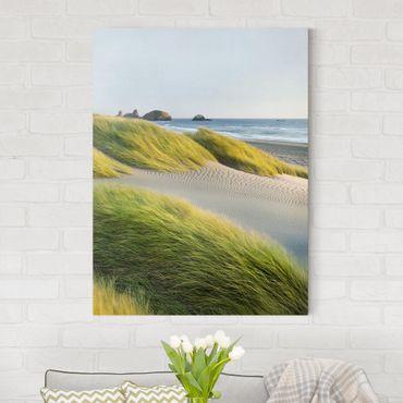 Leinwandbild - Dünen und Gräser am Meer - Hoch 3:4