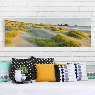 Leinwandbild - Dünen und Gräser am Meer - Panorama Quer