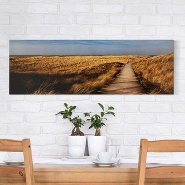 Leinwandbild - Dünenweg auf Sylt - Panorama Quer