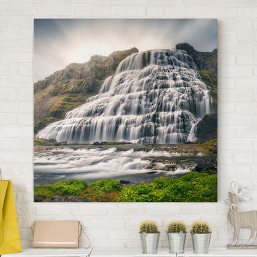 Leinwandbild - Dynjandi Wasserfall - Quadrat 1:1