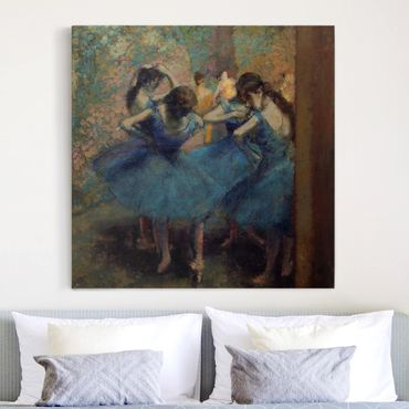 Leinwandbild - Edgar Degas - Die blauen Tänzerinnen - Quadrat 1:1