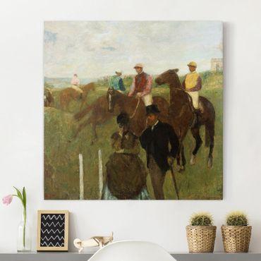 Leinwandbild - Edgar Degas - Jockeys auf der Rennbahn - Quadrat 1:1