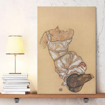 Leinwandbild - Egon Schiele - Weiblicher Torso in Unterwäsche und schwarzen Strümpfen - Hoch 2:3