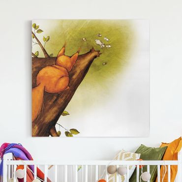 Leinwandbild - Einhörnchen auf dem Weg zu den Hasen - Quadrat 1:1