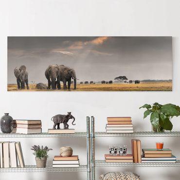 Afrika Leinwandbild Elefanten der Savanne - Panorama Quer
