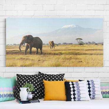 Afrika Leinwandbild Elefanten vor dem Kilimanjaro in Kenya - Panorama Quer
