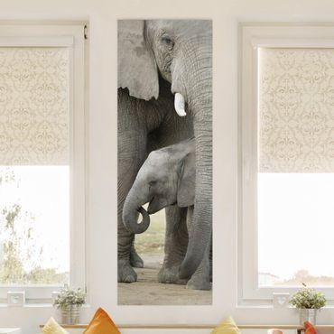 Leinwandbild - Elefantenliebe - Panorama Hoch