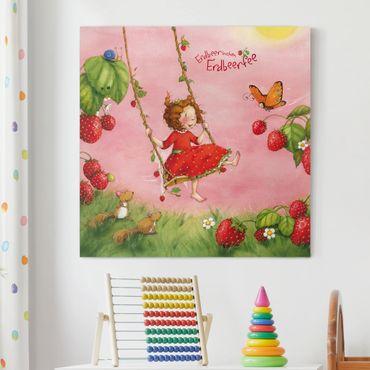 Leinwandbild - Erdbeerinchen Erdbeerfee - Baumschaukel - Quadrat 1:1