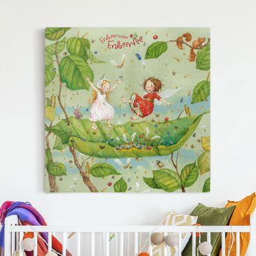 Leinwandbild - Erdbeerinchen Erdbeerfee - Trampolin - Quadrat 1:1