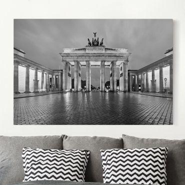 Leinwandbild Schwarz-Weiß - Erleuchtetes Brandenburger Tor II - Quer 3:2