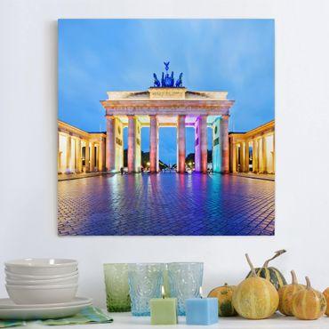 Leinwandbild - Erleuchtetes Brandenburger Tor - Quadrat 1:1