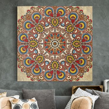 Leinwandbild - Farbiges Mandala - Quadrat 1:1