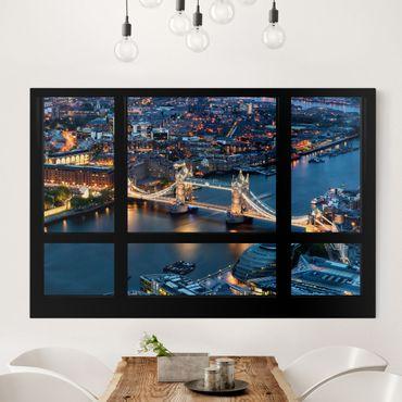 Leinwandbild - Fensterausblick auf Tower Bridge bei Nacht - Quer 3:2