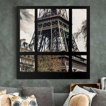 Leinwandbild - Fensterausblick Paris - Nahe am Eiffelturm schwarz weiß - Hoch 2:3