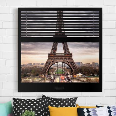 Leinwandbild - Fensterblick Jalousie - Eiffelturm Paris - Quadrat 1:1