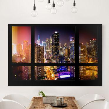Leinwandbild - Fensterblick Manhattan bei Nacht - Quer 3:2