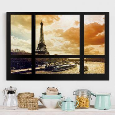 Leinwandbild - Fensterblick - Paris Eiffelturm Sonnenuntergang - Quer 3:2