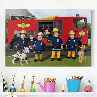 Leinwandbild - Feuerwehrmann Sam - Freunde - Querformat 3:2