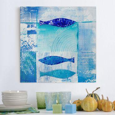 Leinwandbild - Fish in the Blue - Quadrat 1:1