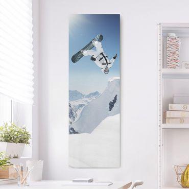 Leinwandbild - Fliegender Snowboarder - Panorama Hoch
